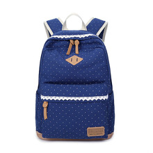 Women Casual Cotton Canvas Backpacks Vintage Travel Printed backpack Girl Fashion Middle School Student Bag Dot Women's Backpack casual women s backpack with canvas and printed design