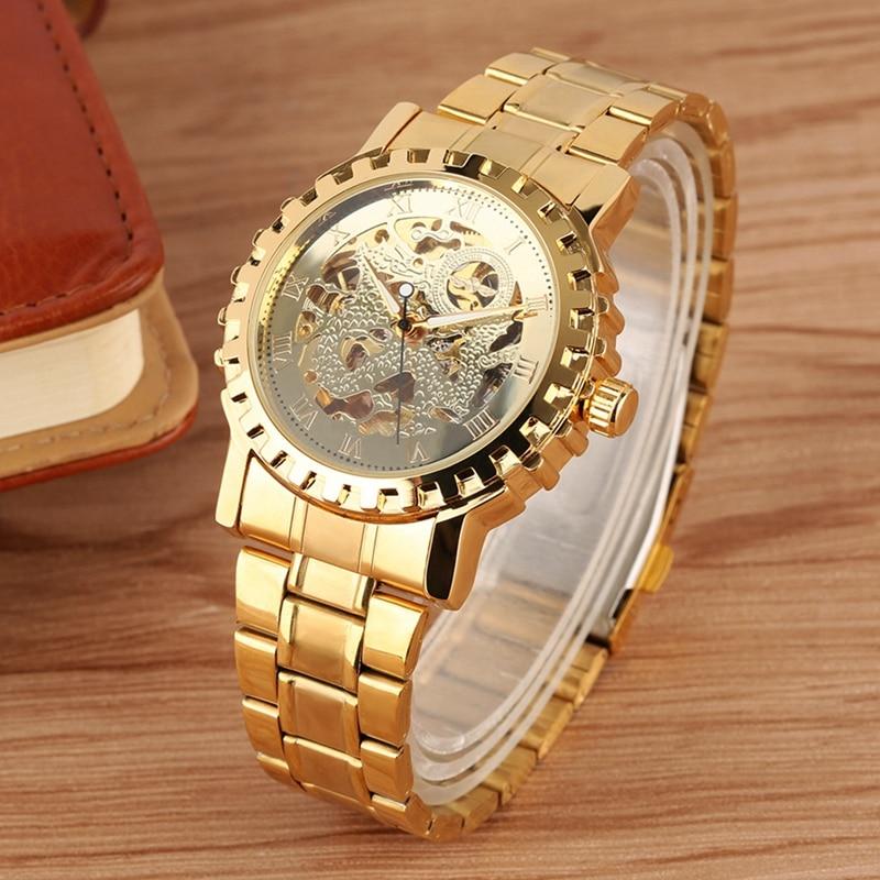 WINNER Multilateral Gold Bezel Skeleton Mechanical Watch Full Stainless Steel Brand Luxury Automatic for Men Reloj Hombre