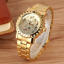 WINNER Multilateral Gold Bezel Skeleton Mechanical Watch Full Stainless Steel Brand Luxury Automatic Watch for Men Reloj Hombre все цены
