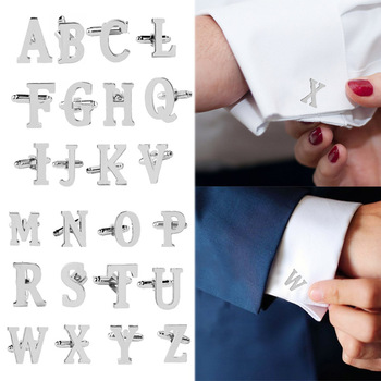 Fashion Men Alphabet Cufflink Male Formal Business Shirt Initial letter Wedding Silvery Letter cuff link