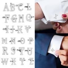 Fashion Men Alphabet Cufflink Male Formal Business Shirt Initial letter Wedding Silvery Letter cuff link