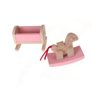 Детская кукольная мебель, деревянная миниатюрная детская комната, детская кроватка, стул, кровать, дети, подарок, игра, игрушки, розовый
