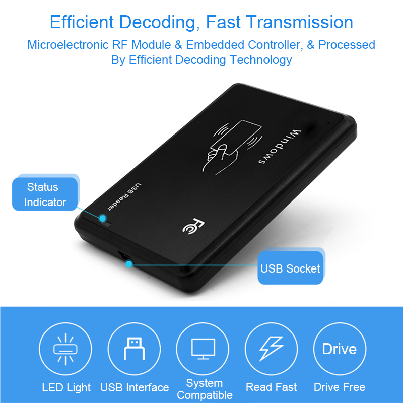 RFID Reader 125khz EM4100 USB RFID ID Contactless Sensitivity Access Control Card Support Window System USB Rfid Card Reader usb