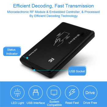 RFID Reader 125khz EM4100 USB RFID ID Contactless Sensitivity Access Control Card Support Window System USB Rfid Card Reader rfid 125khz id em4100 tk4100 portable mirco usb card reader for android phone