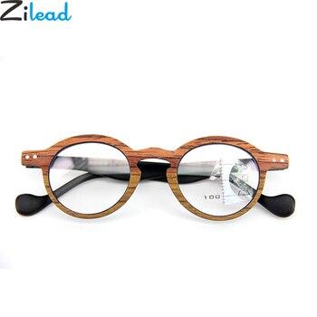 5c8932675a Zilead Retro madera pequeño marco redondo doble gafas de lectura Multifocal  lente transparente gafas Presbyopic oculos gafas Unisex