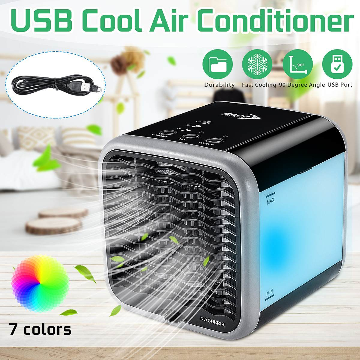 Portable Mini Air Conditioner Cool Cooling Fan USB Charge For Bedroom Cooler Fan LED 3 Air Speed Adjustment 16x16x16.5cmPortable Mini Air Conditioner Cool Cooling Fan USB Charge For Bedroom Cooler Fan LED 3 Air Speed Adjustment 16x16x16.5cm