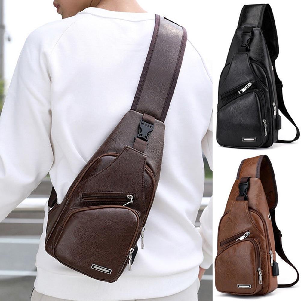 Men Leather Chest Bag Male Casual Functional Fanny Waist Bag Money Phone Belt Bag Sports USB Chest Bag Belt Pack For Outdoor