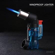 Мини бутан струйный фонарь для сигарет; защита от ветра зажигалка пластиковый случайного цвета Горелка зажигания без газа