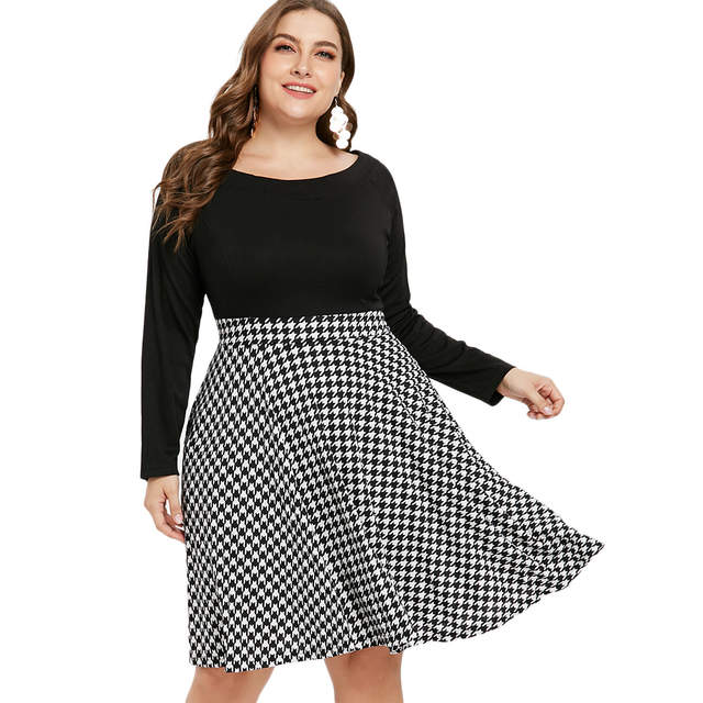 Wipalo Houndstooth Pattern Plus Size Long Sleeve Vintage Dresses Fit And  Flare A Line Knee Length Dress Vestido Party Dresses