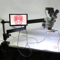 3.5X 90X Trinocular Articulating Arm Pillar Clamp Zoom Stereo Microscope+21MP 1080P HDMI USB Industrial Camera+144 LED Light