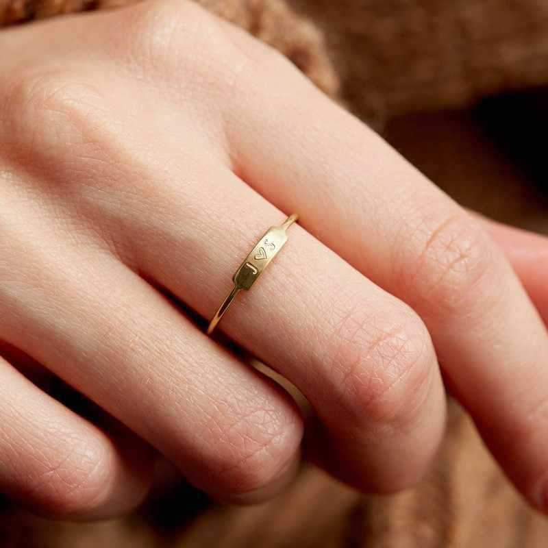 Золотое кольцо с печаткой, женское кольцо на заказ с монограммой, выгравированное имя в золотом цвете, вечерние ювелирные изделия