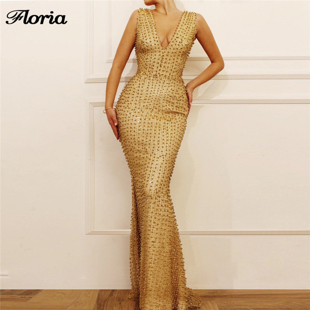 Arabic Gold Mermaid Evening Pageant Dresses Aibye Turkish Muslim African Beading Formal Prom Dress Abendkleider 2019 Vestidos