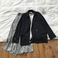 Mooirue Spring Female black Blazer Cotton Slim Loose Korean Short Black Suit Korean Casual Cardigan Feminino Coat