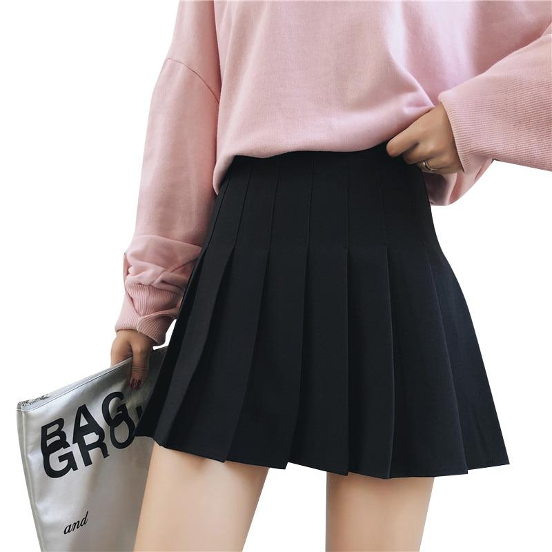 Women High Waist Cosplay Skirt 2020 Spring Summer Kawaii Denim Solid A-line Sailor Skirts Japanese School Uniform Mini Skirts