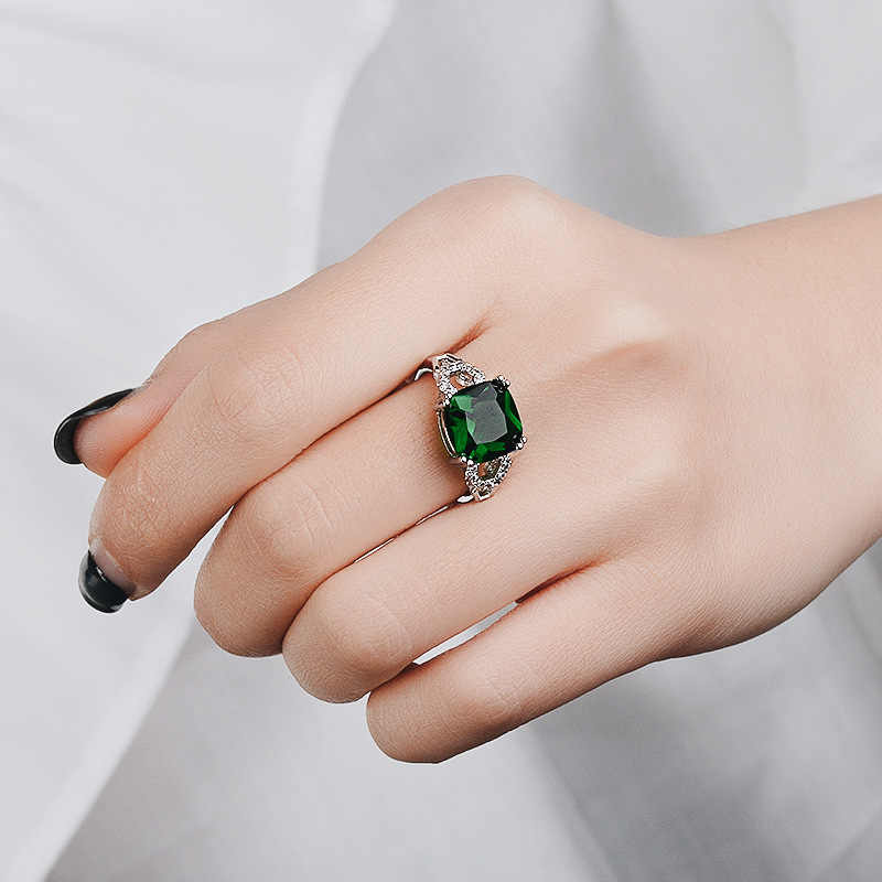 Sliver S925 Sterling Sapphire Ring for Women Ruby Anillos De Turquoise Bizuteria peridot Gemstones Green jade jewelry rings 2019