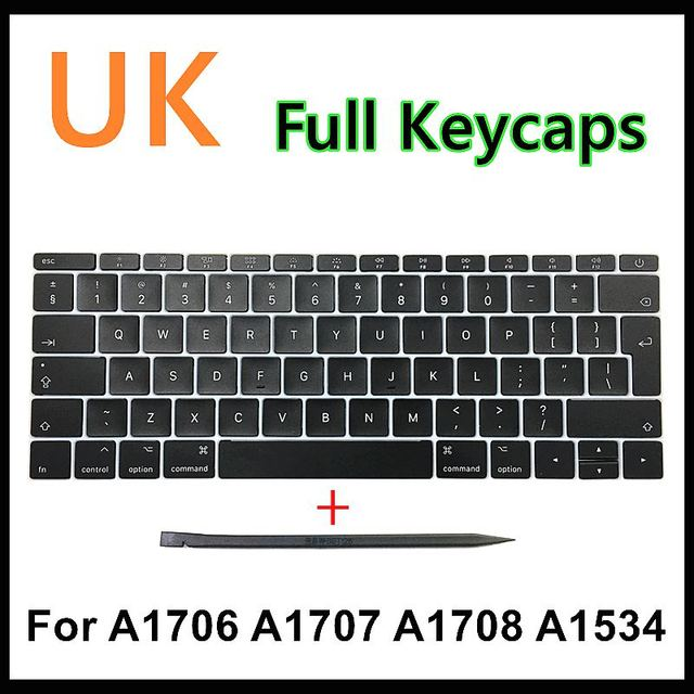 "Faishao New Full Set For Macbook Pro Retina 13""15"" A1706 A1707 A1708 2016 2017 12"" A1534 2017 UK Keyboard Keycaps Key Cap"