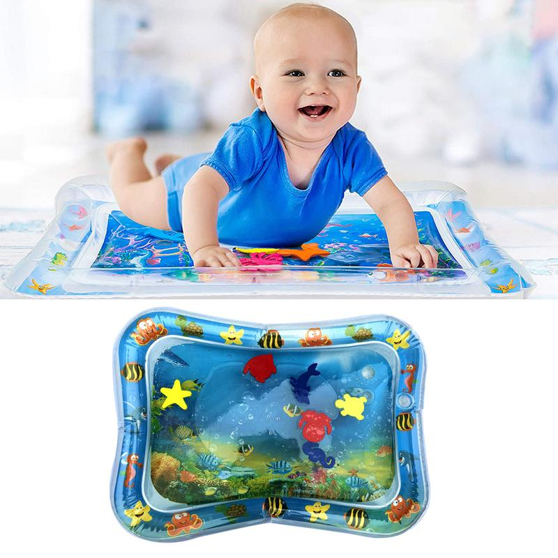 Baby Inflatable Patted Pad - Baby Inflatable Water Cushion - Prostrate Water Cushion Pat Pad Crawling Mat Game Pad Ocean Fish