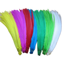 YOYUE 50-55CM 20-22 Inch Silver Pheasant Tail Feathers DIY Wedding Decorations lady amherst white silver chicken feather plume