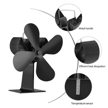 Stove-Fan Fireplace-Fan for Wood Heat-Distribution Heat-Powered Efficient 4-Blades Home