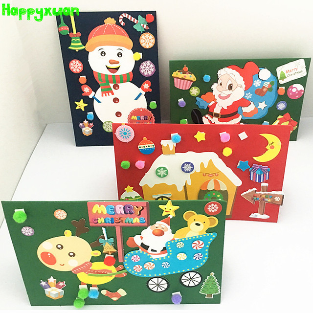 Happyxuan 4 Designs 2018 3d Christmas Greeting Card Handmade