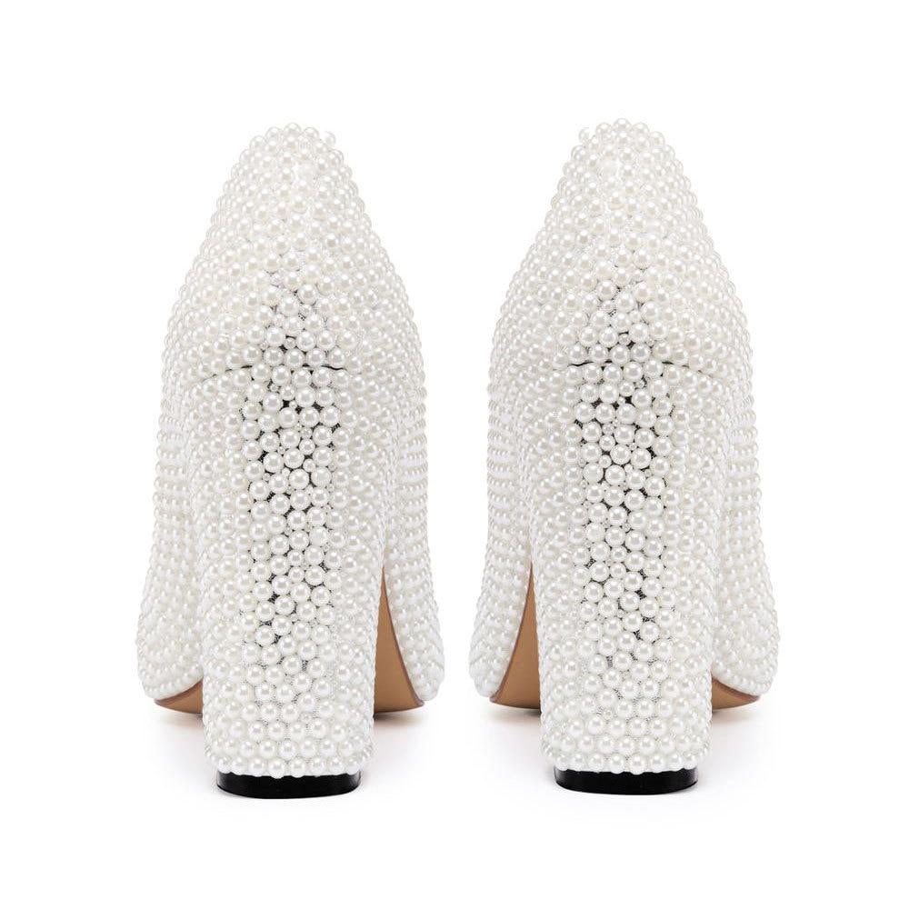 Perle Pointu Chunky De Gloire Perles Zapatos Slip Printemps Femmes Goujons Sur Mariage Bout Pic Pompes As Mariée Talons Hauts Ew4A0xRq7A