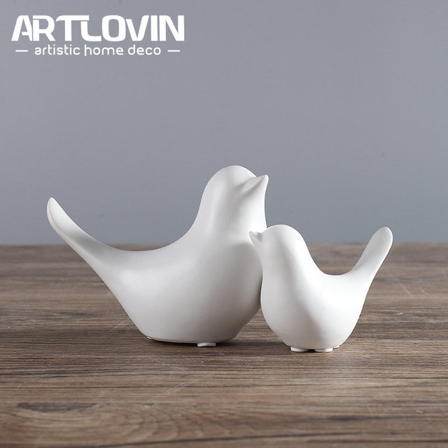 Nordic Creative White Ceramic Bird Figurines Home Decoration Accessories Party Crafts for Living Room Shelves Wedding Ornaments 3