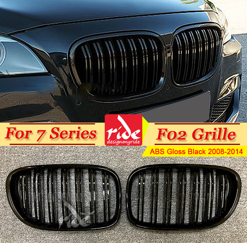 F02 Grille avant à 2 lattes ABS noir brillant pour F02 grilles avant série 7 740i 745i 750i 760i Grille de pare-chocs avant 2008-2014
