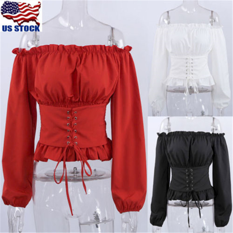 Fashion Women Ladies Long Sleeve Off Shoulder Tops Blouse Shirt Lace Up Corset