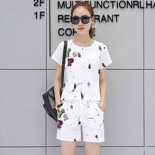 Summer New Korean Fashion Women Casual Sweatshirt Shorts Suit Short Pants Two-Piece Outfit O Neck Top Vestidos M-3XL