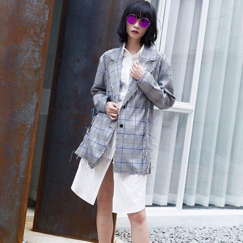 Base Manteau Femelle Automne Anneau Côté Marée Maison Métal Faits Manteaux Picture Gland Costumes Twotwinstyle Vêtements Pour De En Femmes Plaid Blazer As aw8zzxqfF