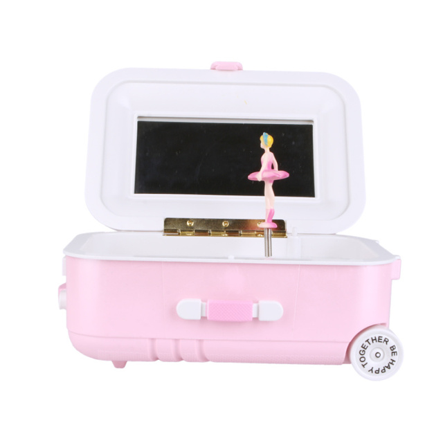 New Trolley Suitcase Music Box Rotating Girl Music Box Jewelry Box Student Gift Home Decoration Ornament Accessories