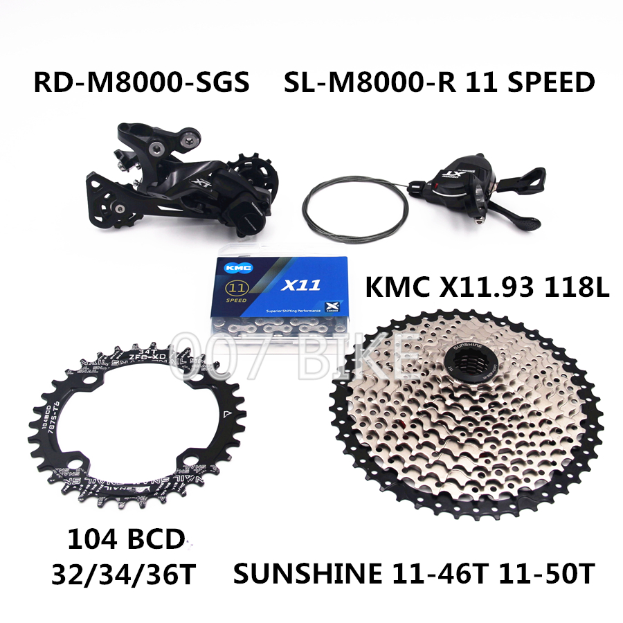 Image 2 - SHIMANO DEORE XT M8000 Groupset MTB Bike 1x11 Speed 46T 50T SL+RD+SUNSHINE+CHAINRING+X11.93 M8000 shifter Rear Derailleur-in Bicycle Derailleur from Sports & Entertainment