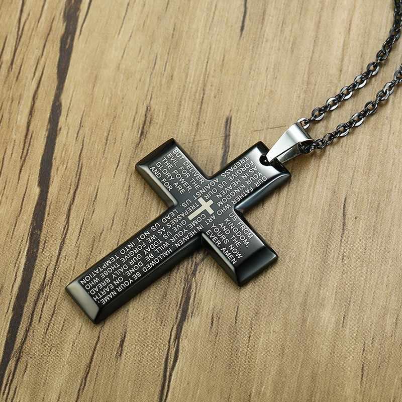Nam Kinh Thánh Túi Đeo Chéo Bằng Thép Không Gỉ Màu Đen Bạc Regilous Kitô Giáo Nam Choker Trang Sức