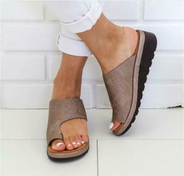 Frauen Pu Leder Schuhe Bequeme Plattform Flache Sohle Damen Casual Weiche Big Toe Fuß Korrektur Sandale Orthopädische Bunion Corrector Feines Handwerk