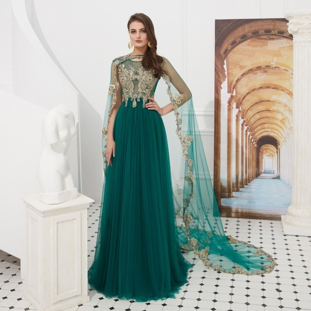 5fee11787e Vivian's Bridal Muslim Removeable Cape Evening Dress Sexy Illusion Mesh Sequin  Lace Appliques Green Elegant Party Dress