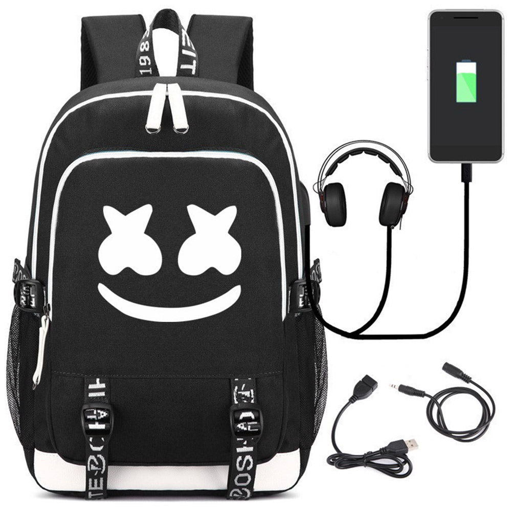 Marshmello Luminous Travel Bag School Shoulder Bag Bookbag Unisex Out Door Sport Bag with USB Port