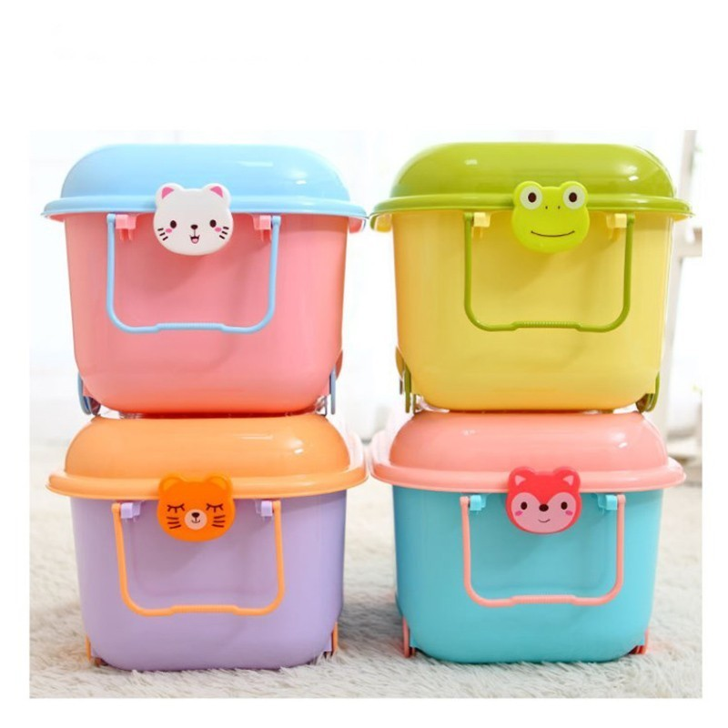 Cute Plastic Storage Box For Toys With Lid Animal Pattern