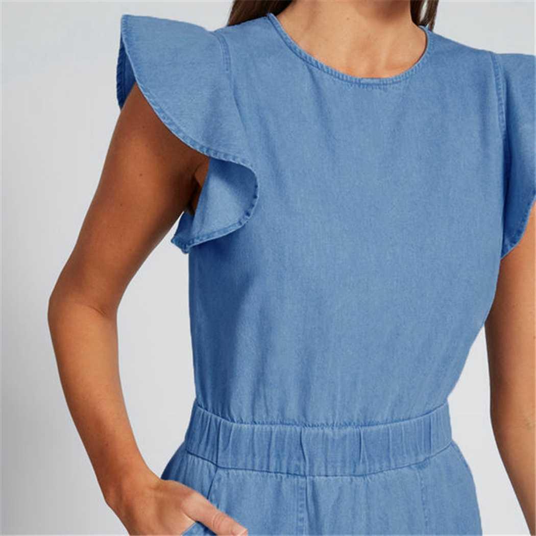 Летние синего джинсового цвета легкий костюм с шортами Для женщин оборками короткий рукав комплект с шортами детские комбинезоны Повседневное застежка-молния комбинезон с карманами для девушек, цельный