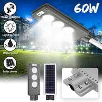 60W Solar Street LED Light PIR Motion Sensor Radar Induction Wall Road Lamp Aluminum Alloy IP65 Waterproof Energy Saving