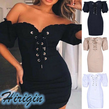 Summer Dresses Women Casual Short Sleeve Off Shoulder V Neck Slim Short Dress Sexy Lace Up Mini Bodycon Dress недорго, оригинальная цена