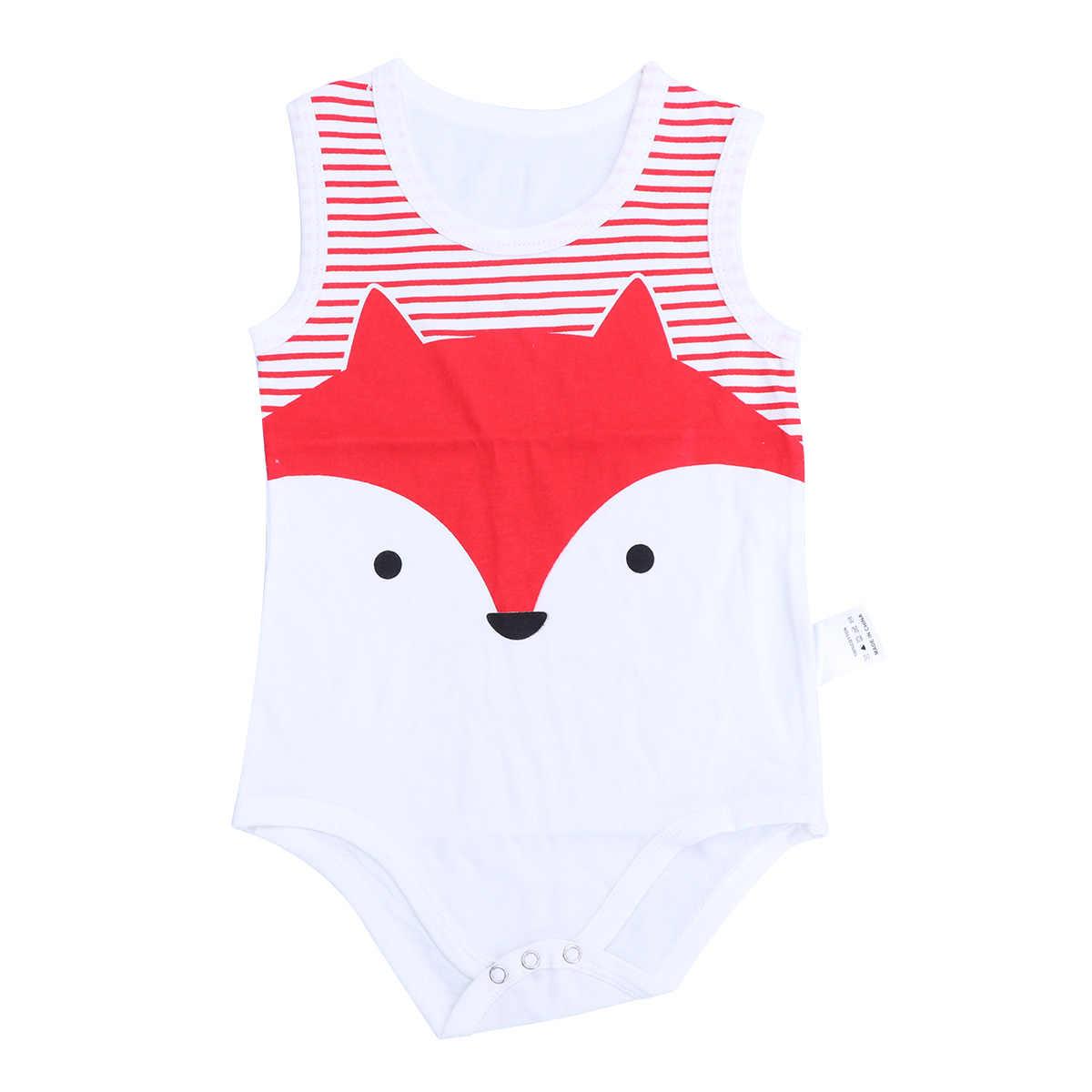 80 см для новорожденных летняя одежда хлопок мультфильм без рукавов восхождение комбинезон повседневное треугольный конверт (Red Fox)