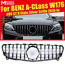 W176 GTS Style Front Grille Fit For A-Class A180 A250 A200 A45 ABS material Silver Bumper Car Styling 2016-in