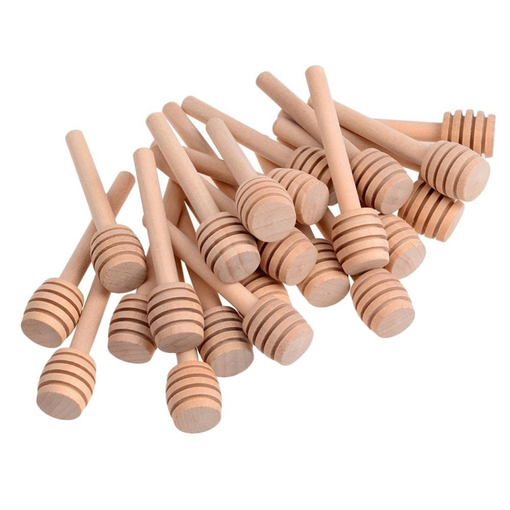 24Pcs Practical Mini Wooden Honey Spoon Mixing Stick Dipper For Honey Jar Coffee Milk Tea Supplies Cuchara Miel Kitchen Tools(China)