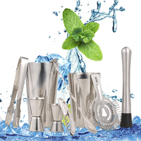 Stainless Steel 9pcs Bar Tool Cocktail Shaker Bartender Kit cocktail tool Muddler Shaker Spoon Tong Drink Mixing for Parties Bar