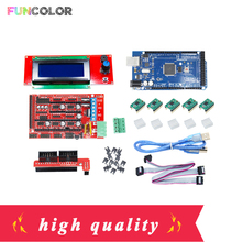 SKIT-2 Motherboard 1pcs Mega 2560 R3 + 1pcs RAMPS 1.4 2004 LCD Controller + 5pcs A4988 Stepper Driver Module for 3D Printer Kits 33d printer kit smart parts ramps 1 4 controller control panel lcd 2004 module display monitor motherboard blue screen
