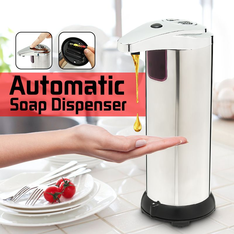 1pcs 280ml automatic liquid soap dispenser stainless steel