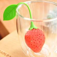 1Pc Red Strawberry Shape Silicone Tea Infuser Reuseable Food Safe Tea Leaf Bag Holder Tea Coffee Herbal Punch Filter Diffuser(China)