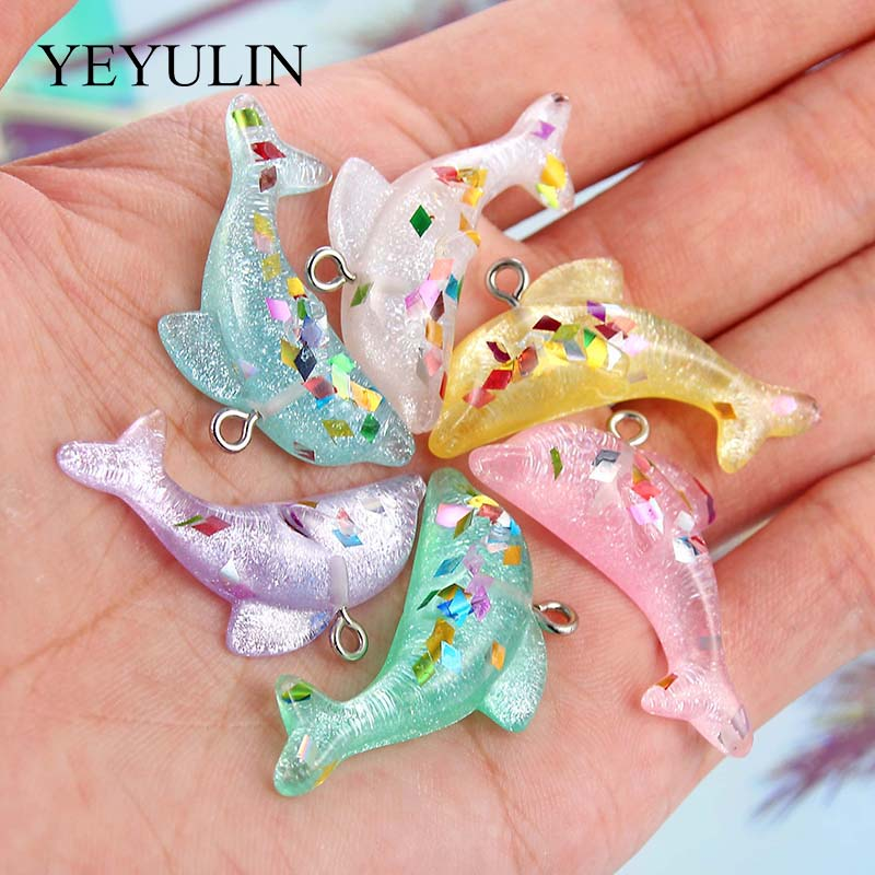 Pendant Charms Necklace Jewelry-Accessories Keychain Dolphin-Shape Making Pink Random-Color