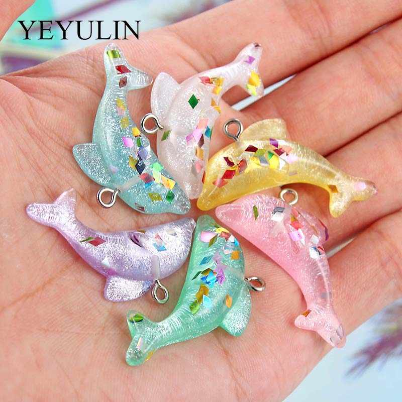 10 Pcs Pink Green Random Color Dolphin Shape Pendant Charms Fashion Jewelry Accessories For Making Keychain Necklace