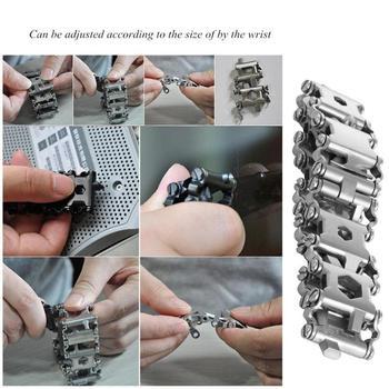 29in1 Multifuncional Pulseira De Aço Inoxidável Ferramenta Mão Chave Chave Fenda Abridor Garrafa Emergência Ao Ar Livre Edc Ferramenta